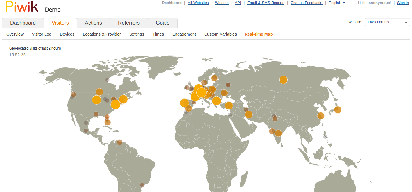 Visitors real-time map